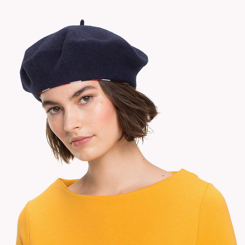 182fa47c59643 Tommy Hilfiger Stripe Wool Beret in Blue - Lyst