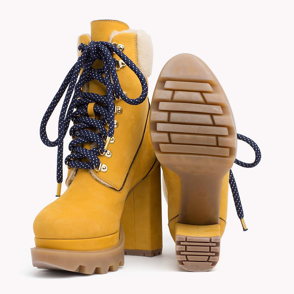 Block Heel Hiking Boots Tommy Hilfiger Heeled Hiking Boot Shoes