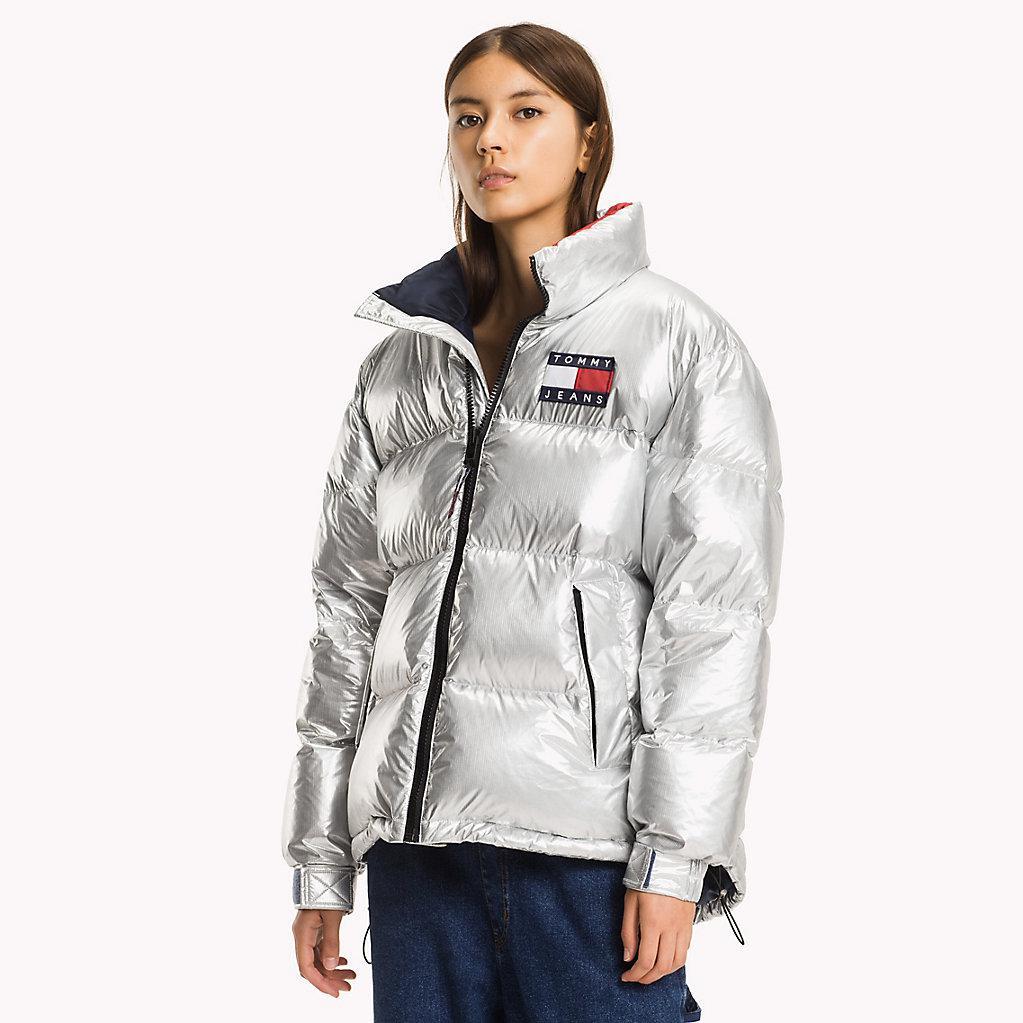 Tommy Hilfiger Nylon Silver Puffa Jacket In Metallic Lyst