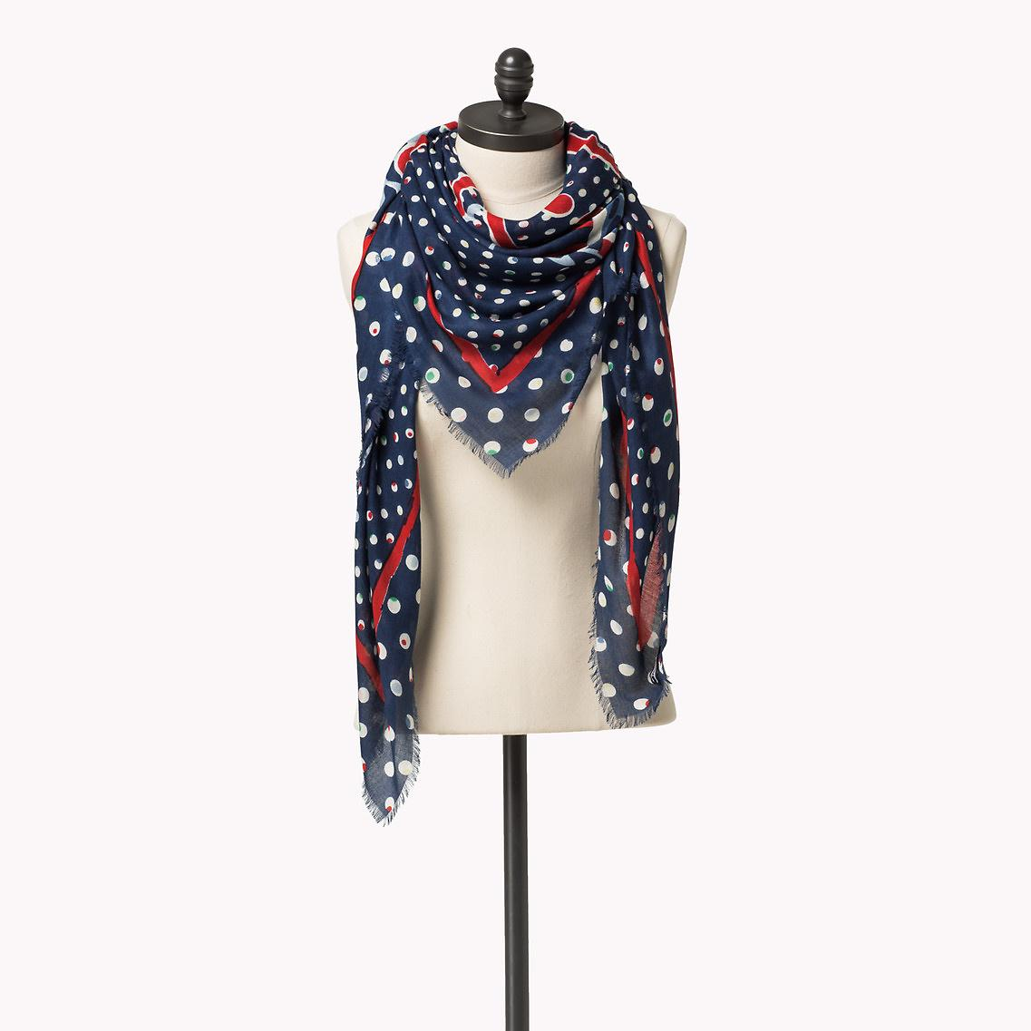 Tommy Hilfiger Viscose Printed Scarf in Blue - Lyst