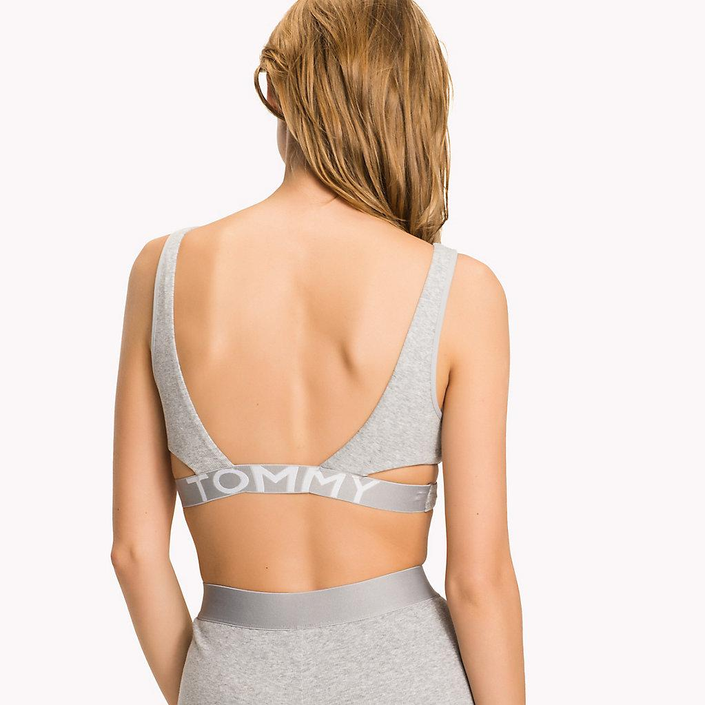 584d7237725 Tommy Hilfiger Crossover Cotton Bralette in Gray - Lyst