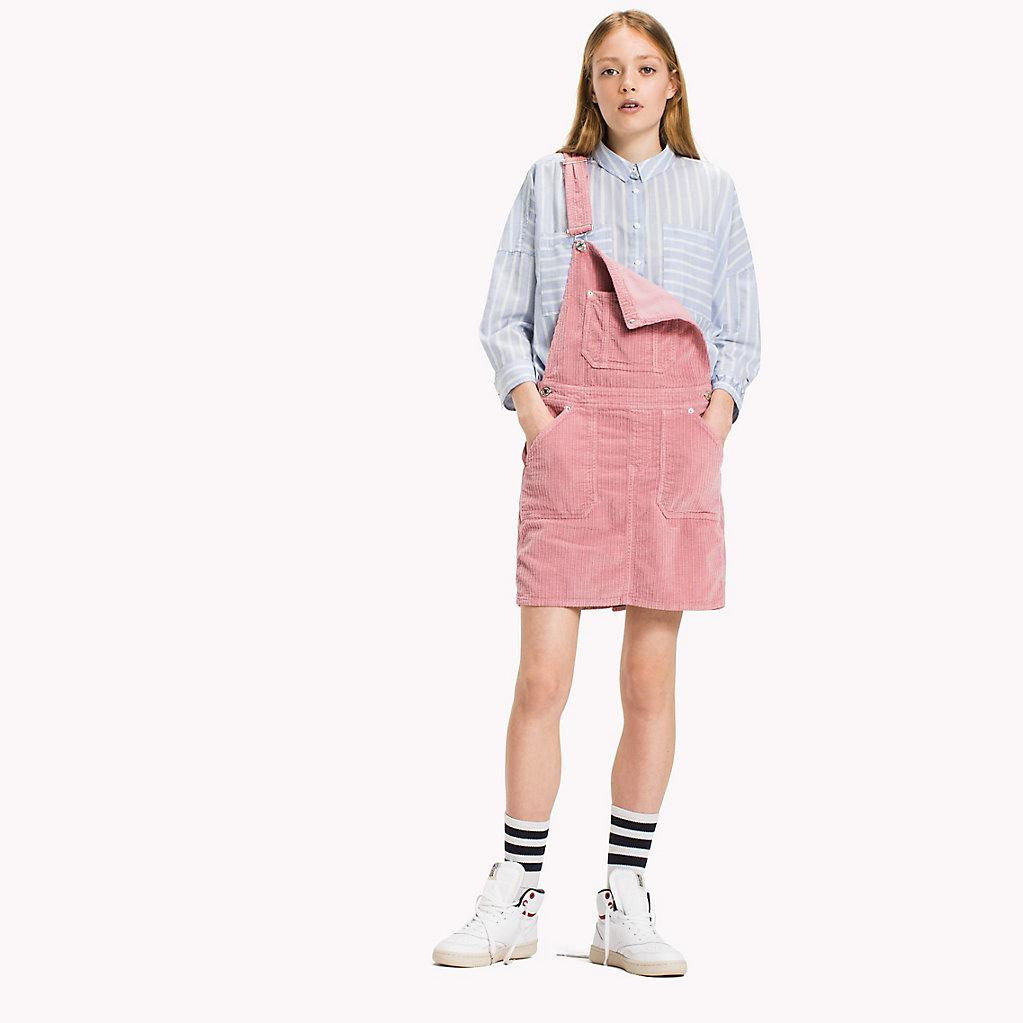 b80be886600 Tommy Hilfiger Corduroy Dungaree Dress in Pink - Lyst