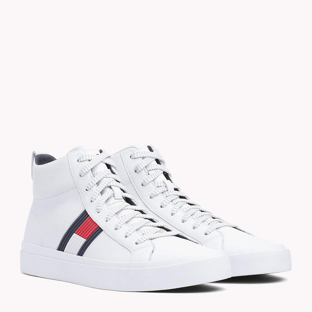 30d01fed4 Tommy Hilfiger Flag Detail High Leather Sneaker in White for Men ...