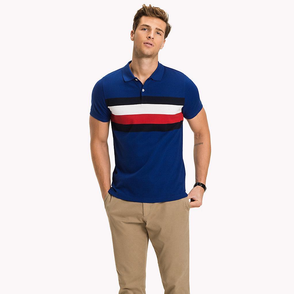 6350dd4b726d5c Tommy Hilfiger Chest Stripe Slim Fit Polo Shirt in Blue for Men - Lyst