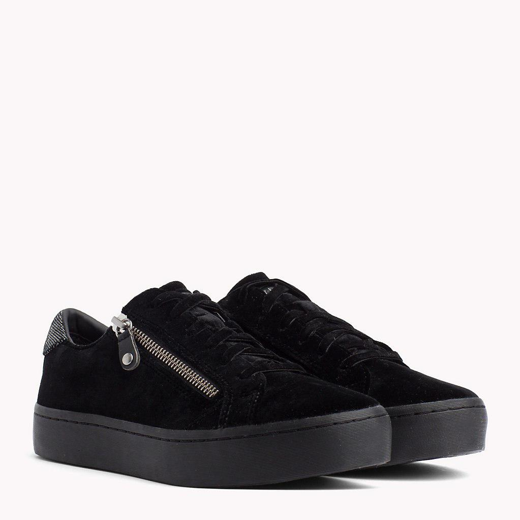 e6ed6365118b1d Tommy Hilfiger Velvet Finish Zip Detail Trainers in Black - Save 31 ...