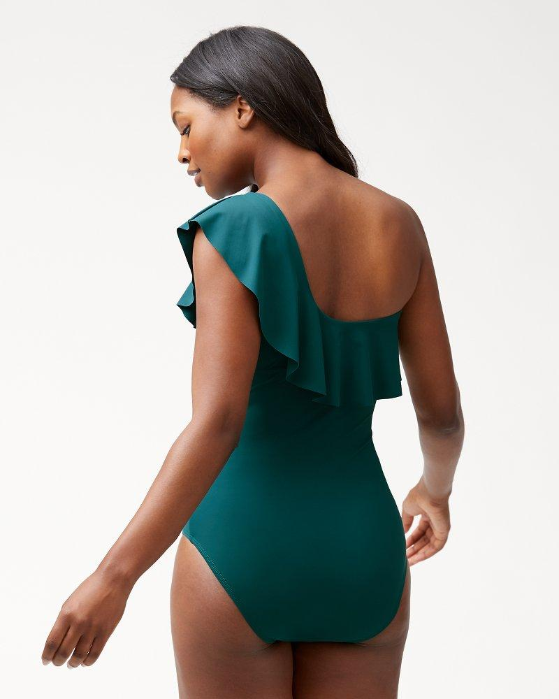 8c23bc4938ca8 Tommy Bahama Islandsculpt® One Shoulder Flounce One-piece Swimsuit in Green  - Lyst