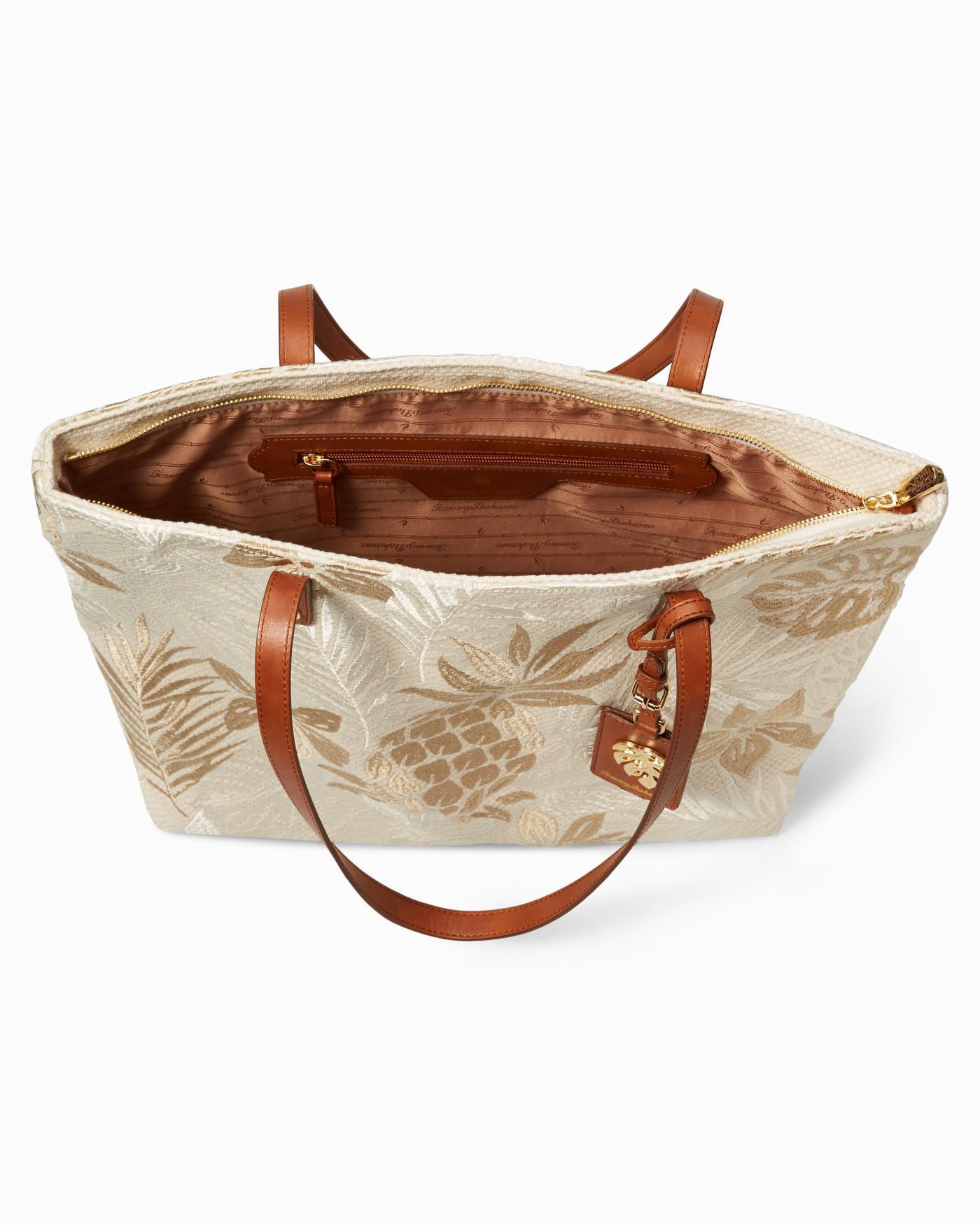 Rare Tommy Bahama Handbag Bag Burnt Orange Embroidered Pineapples Leather