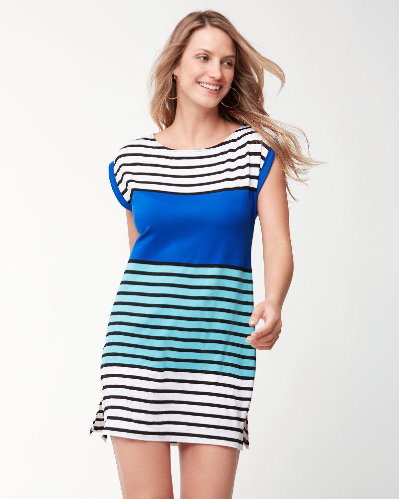 fc68ef691c Lyst - Tommy Bahama Colorblocked Breton Rolled-sleeve Dress in Blue