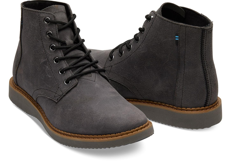 f6dedcc6d12 TOMS - Black Dark Grey Leather Porter for Men - Lyst. View fullscreen