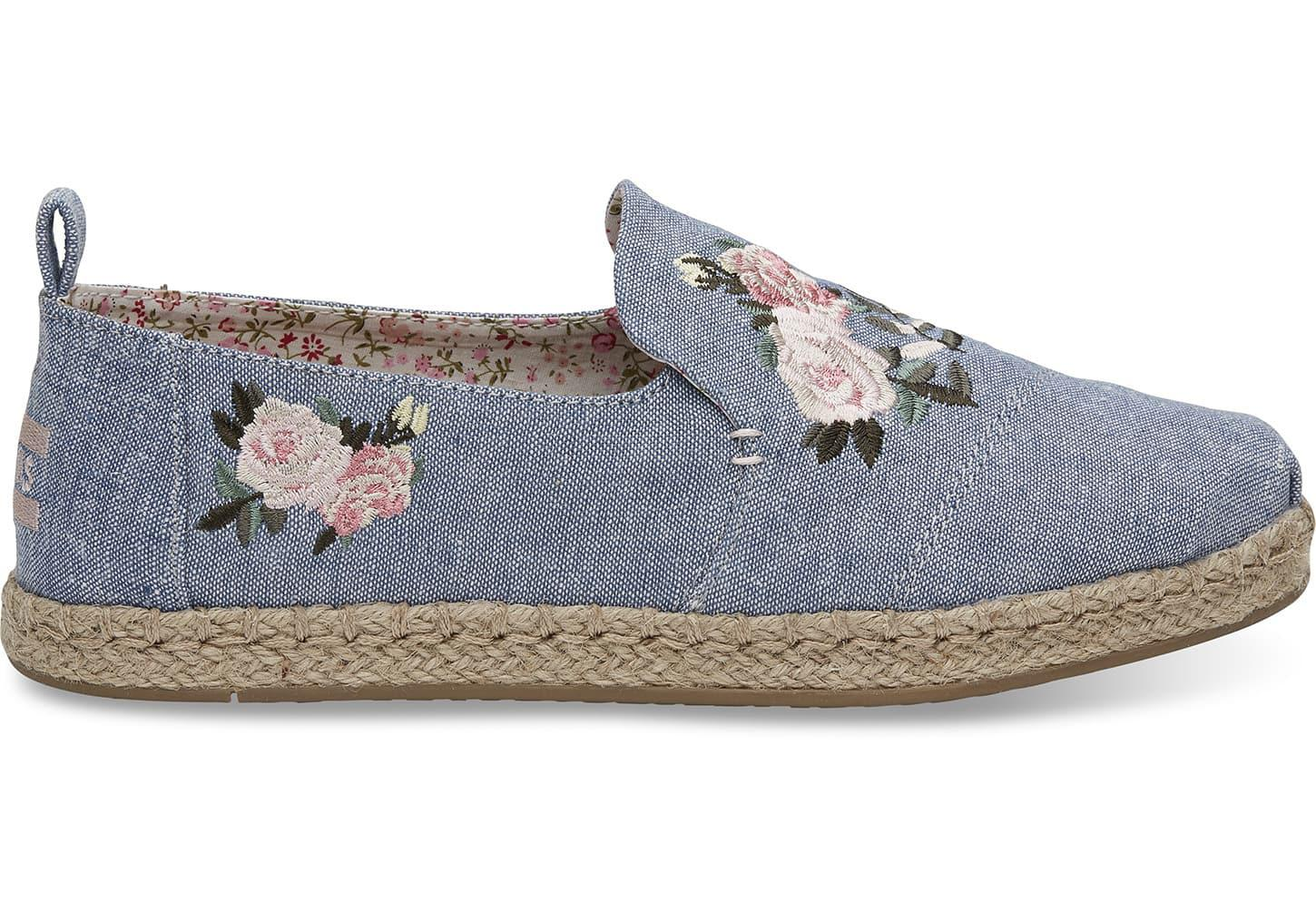fd418b2f08a Toms Floral Embroidered Chambray Women s Deconstructed Alpargatas ...