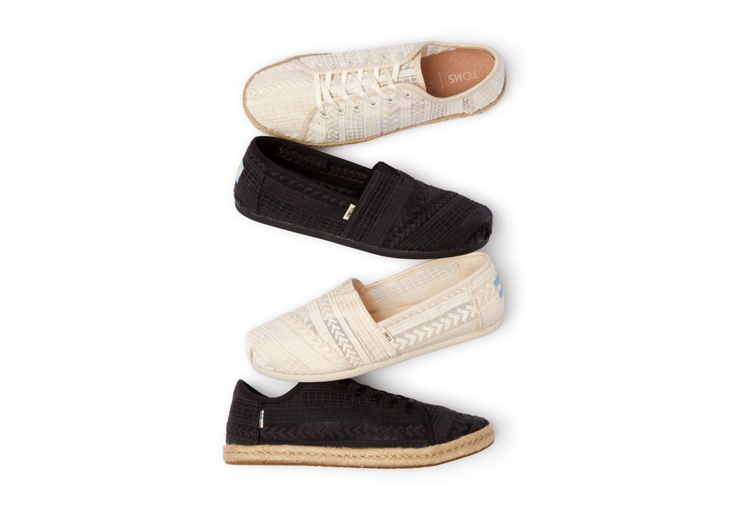 TOMS Canvas Black Arrow Embroidered