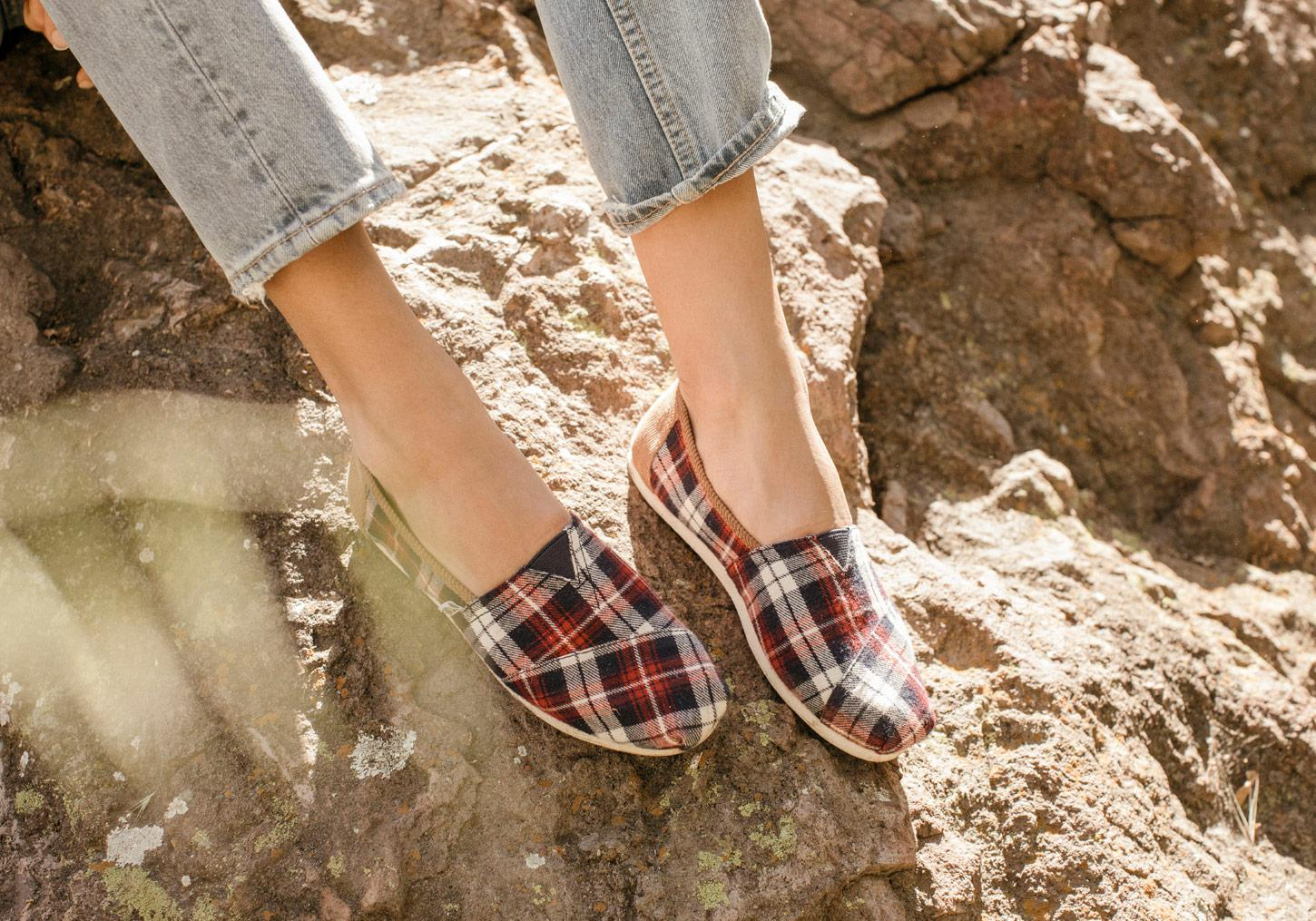 e6a7bdcbd69 Lyst - TOMS Red Checked Plaid Women s Classics in Red