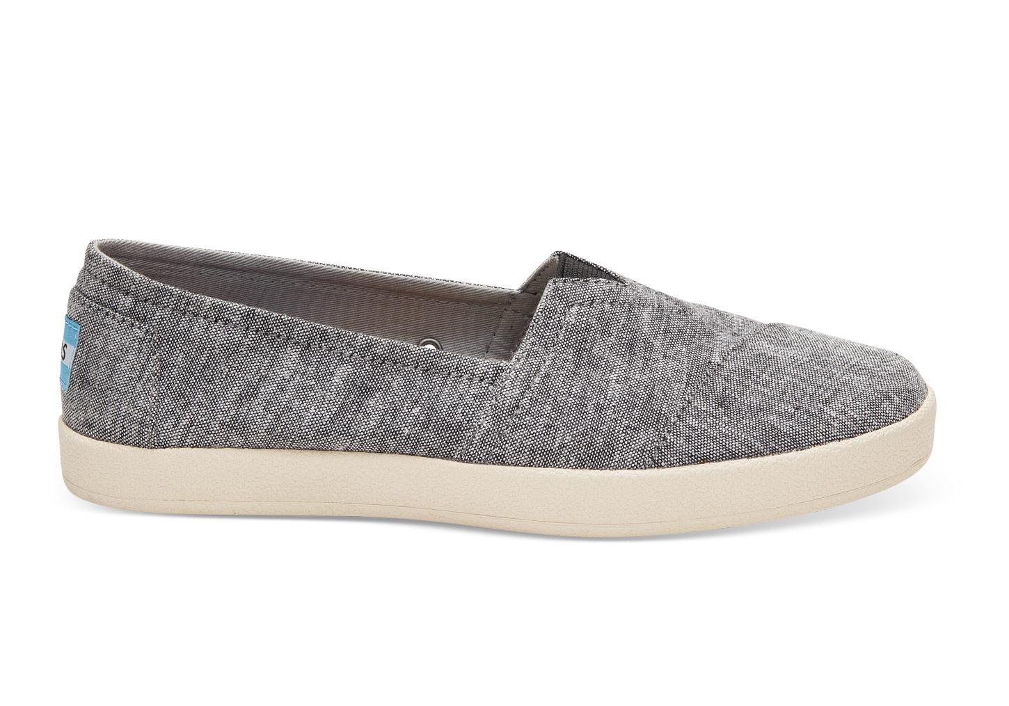 93e33e34a51 Lyst - TOMS Black Slub Chambray Women s Avalon Slip-ons in Black