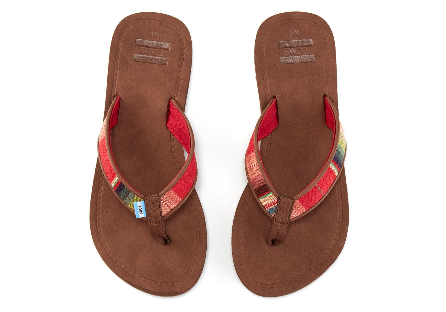6503d4083544 Lyst - TOMS Brown Multi Textile Women s Solana Flip-flops in Red
