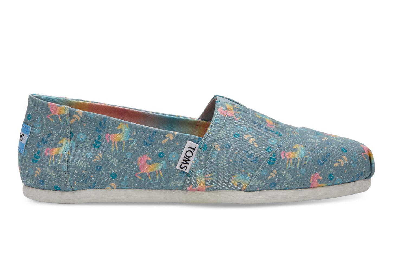 abdc5522399 Lyst - TOMS Rainbow Unicorn Slip-on Shoes in Blue
