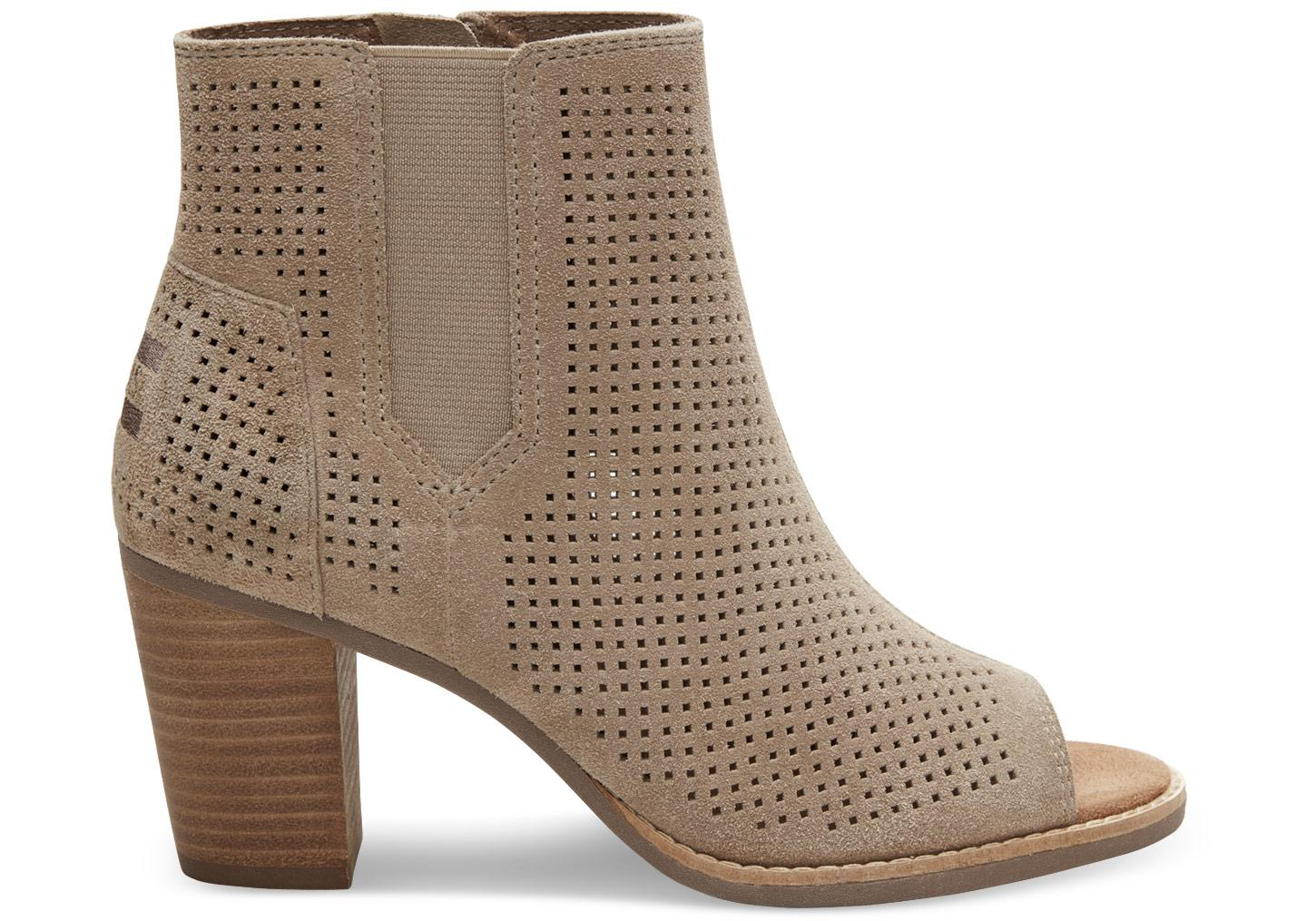 Toms Stucco Suede Perforated Women S Majorca Peep Toe