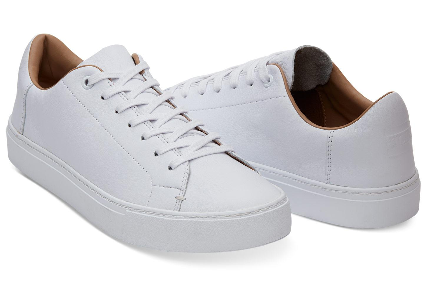 a323c598122 TOMS Optic White Leather Men s Lenox Sneakers in White for Men - Lyst