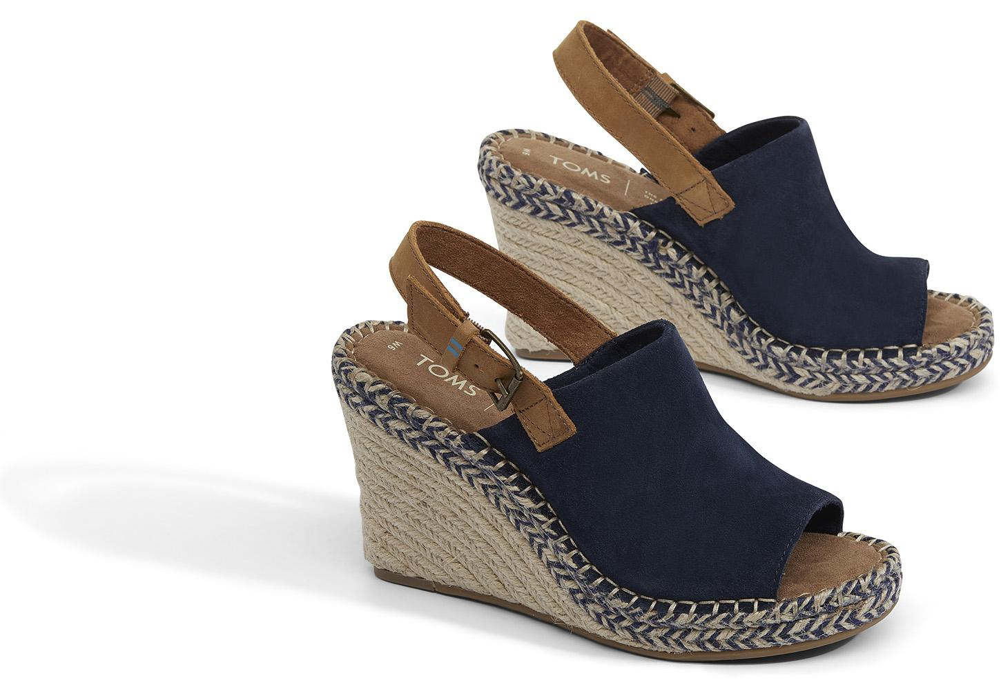 Monica Wedges in Navy Suede/Leather