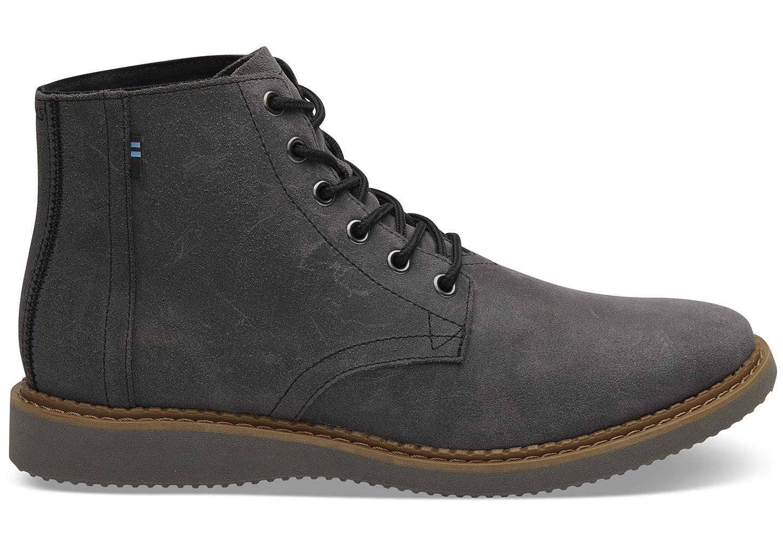 98a488926c3 TOMS Dark Grey Leather Porter in Black for Men - Lyst