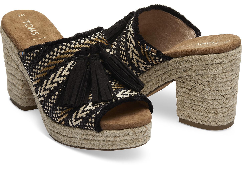 73dd0defdc28 TOMS Black Geometric Woven With Tassel Women s Junie Wedged Sandals ...