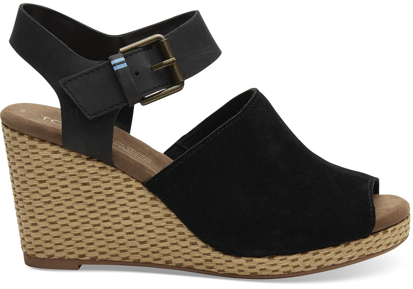 c629032e1e70 Lyst - Toms Black Suede And Leather Women s Tropez Wedges in Black