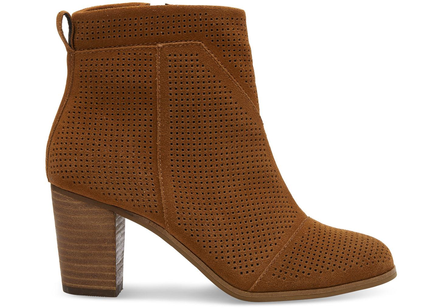 83e79e2a9ae Lyst - Toms Cinnamon Suede Perforated Women s Lunata Booties in Brown