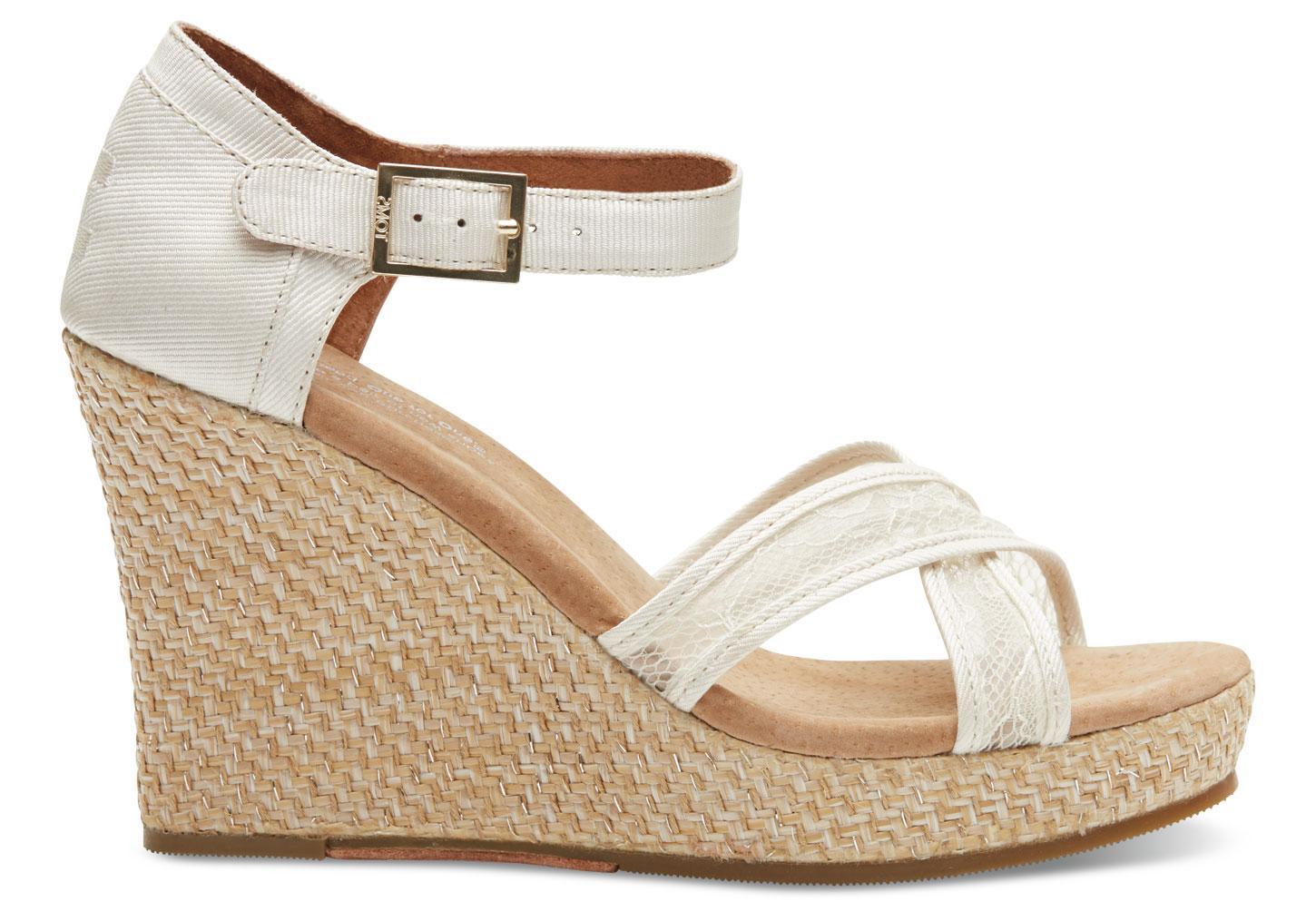 Toms Platinum Grosgrain Lace Women S Strappy Wedges In