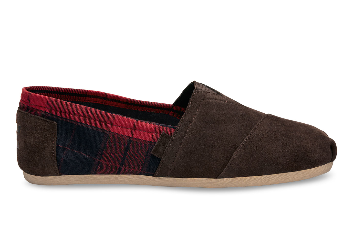 toms chocolate brown suede red plaid men 39 s classics in. Black Bedroom Furniture Sets. Home Design Ideas