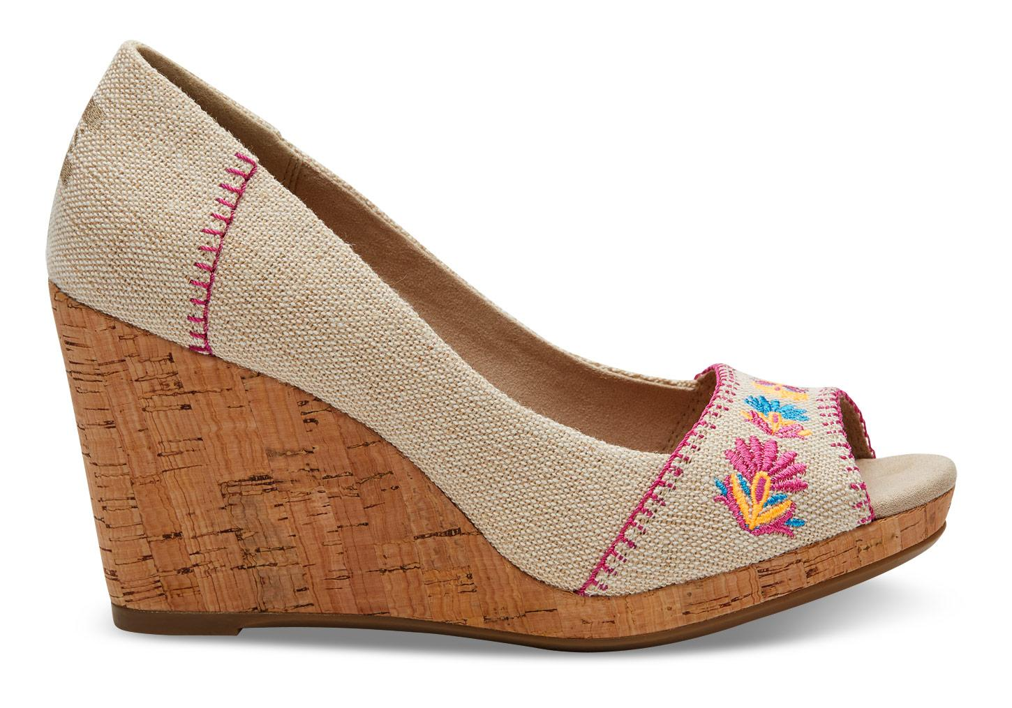Lyst toms burlap floral embroidered women s stella wedges