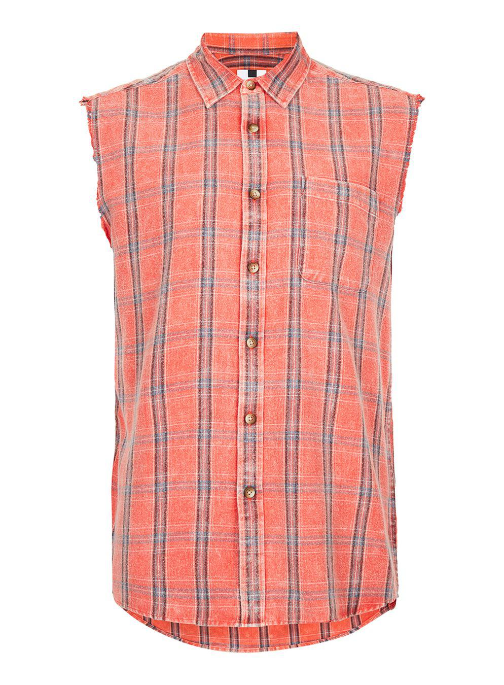 Lyst Topman Sleeveless Orange And Red Check Shirt In