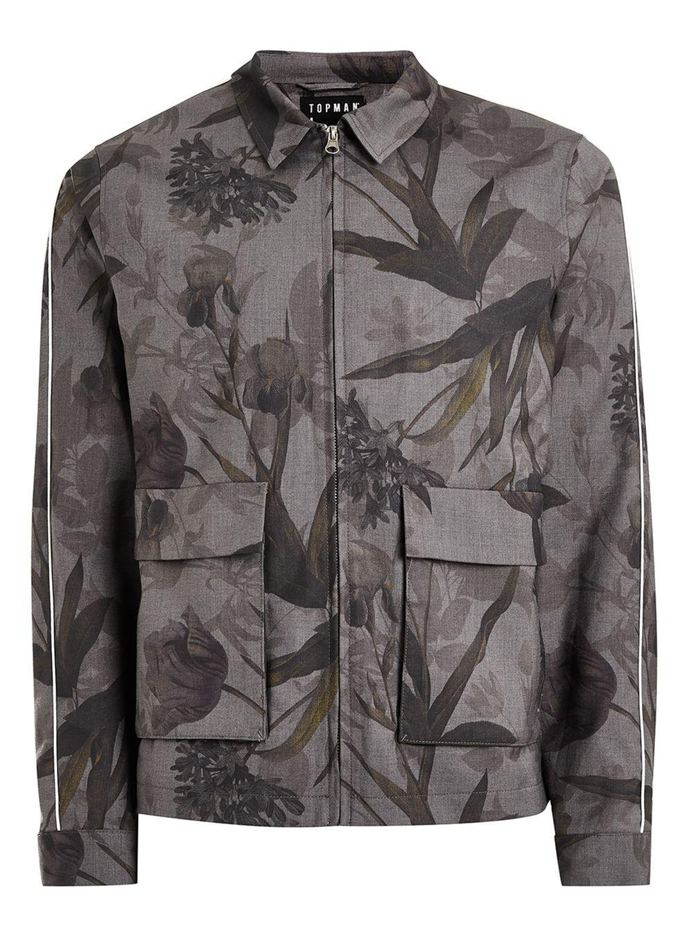 TOPMAN Synthetic Black And Grey Floral Zip Through Jacket in Mid Grey (Grey) for Men