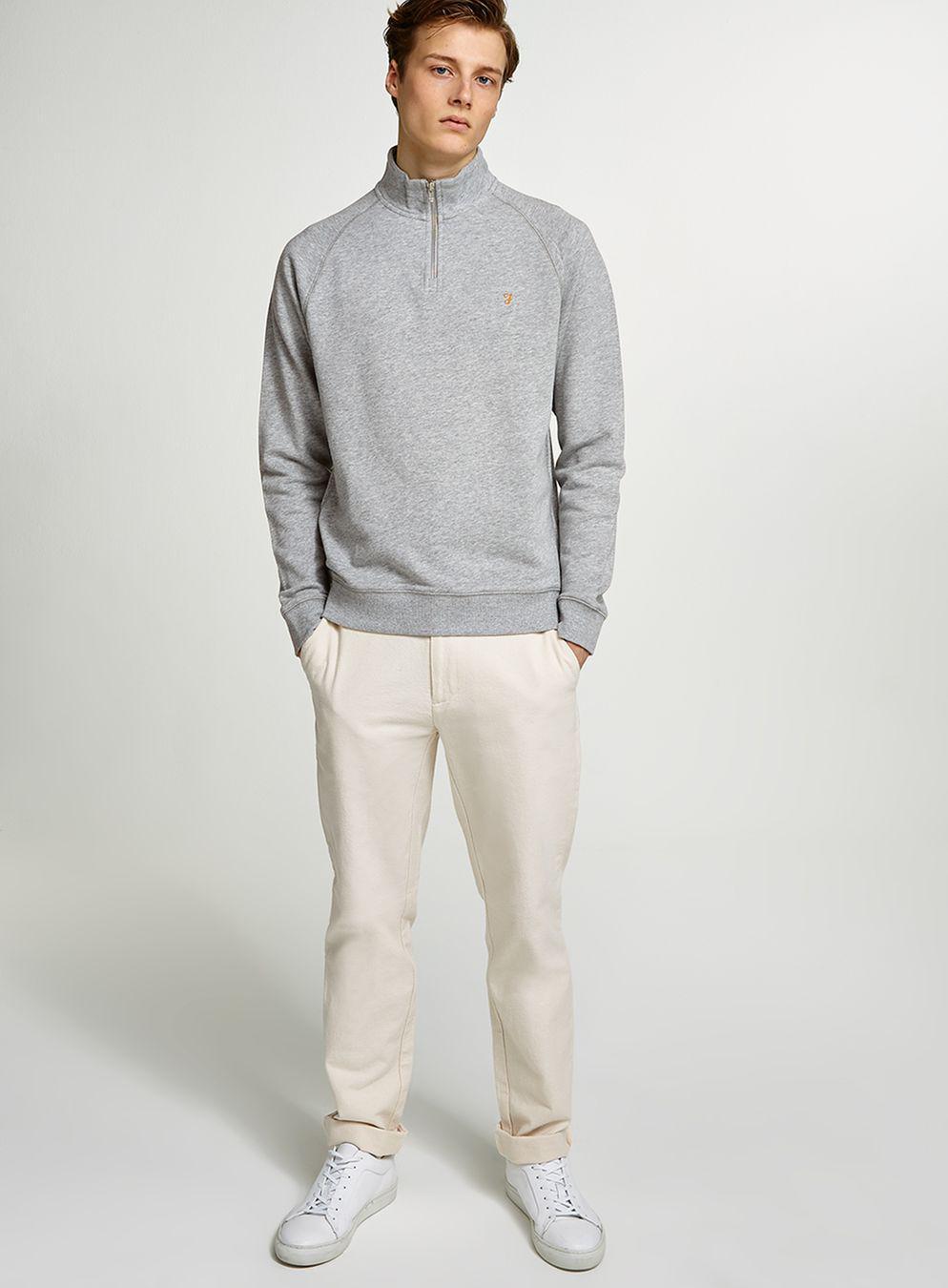 TOPMAN Cotton Farah Grey 'kyle' Track Top in Grey for Men