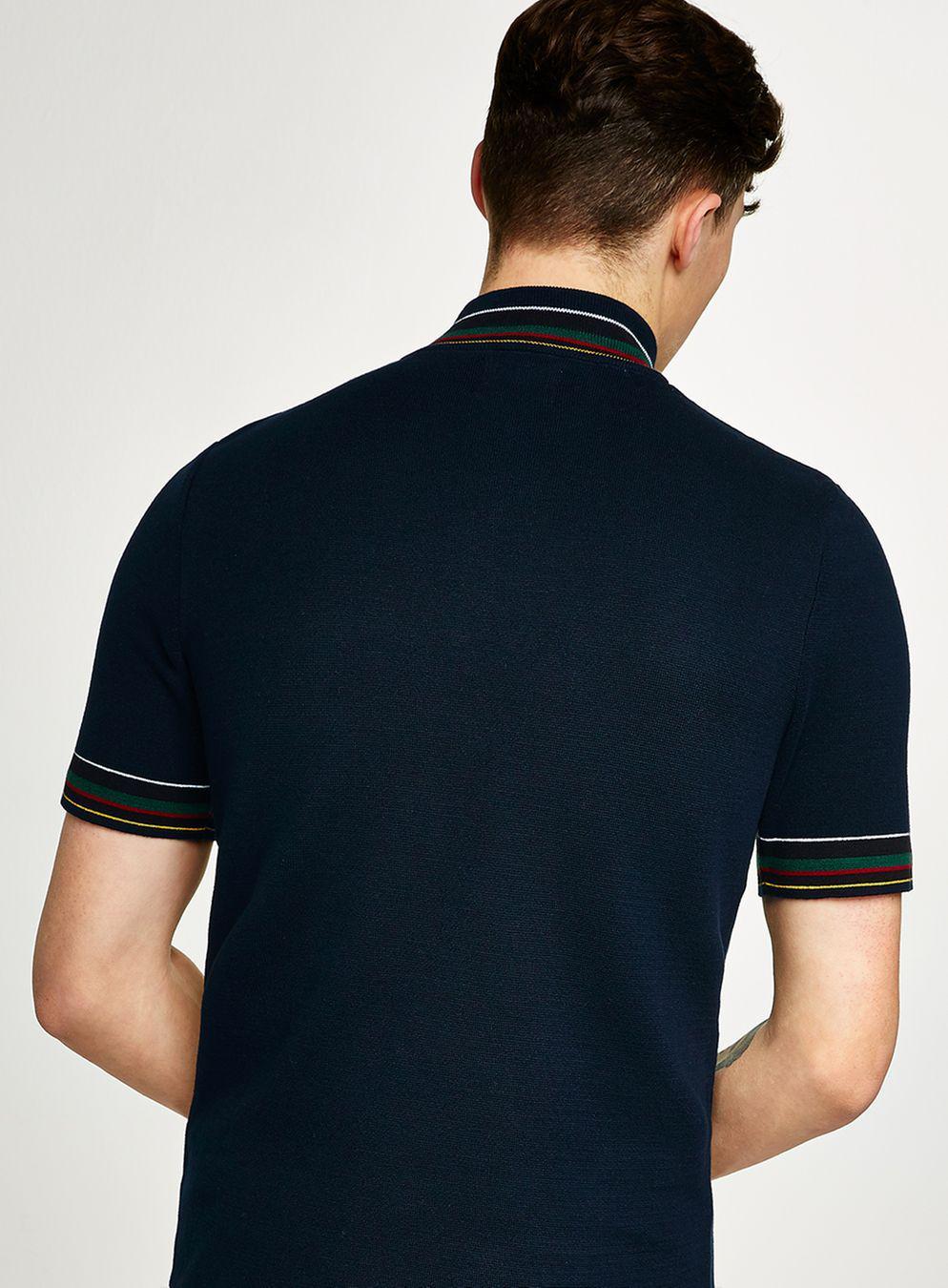 TOPMAN Cotton Navy Half Zip Jumper in Blue for Men