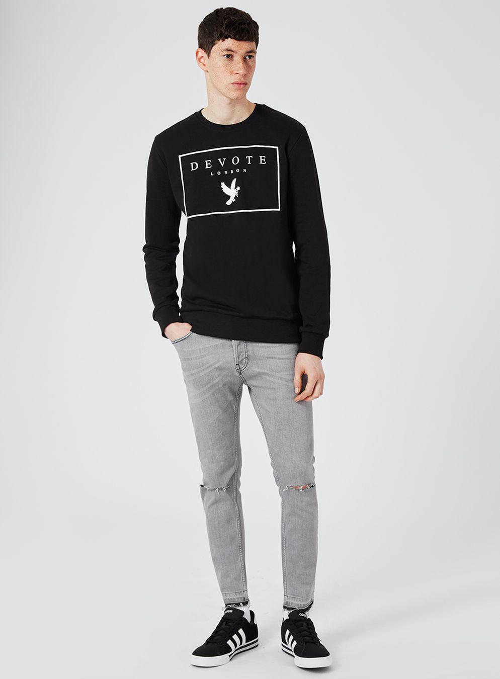 TOPMAN Cotton Devote Black Dove Panel Sweatshirt* for Men