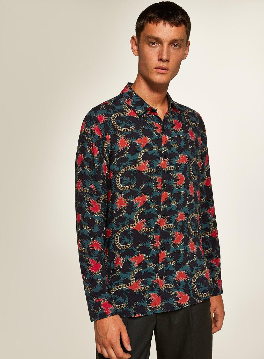 add4a4325d47 Topman Teal And Red Chain Print Slim Shirt in Blue for Men - Lyst