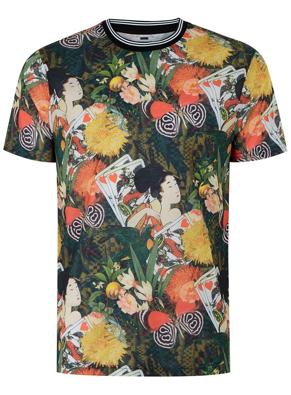 Lyst topman japanese floral print t shirt in black for men for Who prints t shirts