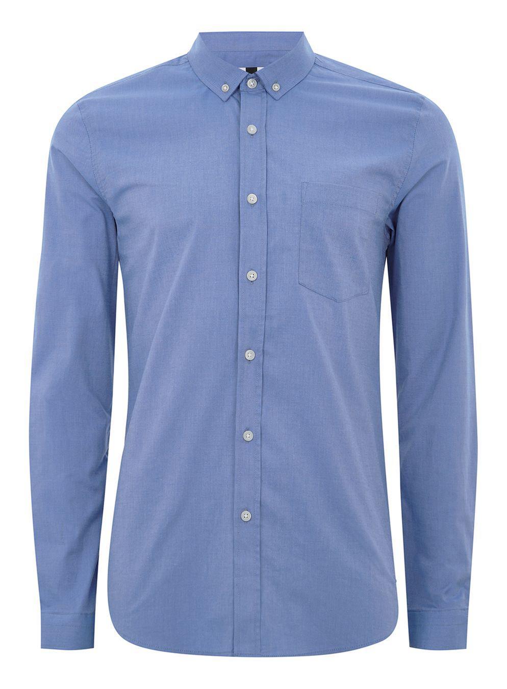 lyst topman dark blue muscle fit oxford shirt in blue