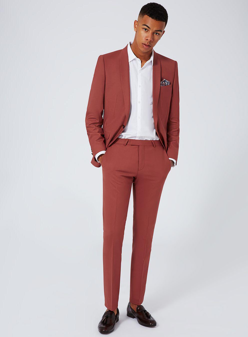 TOPMAN Synthetic Noose & Monkey Rust Slim Fit Suit Trouser in Brown for Men