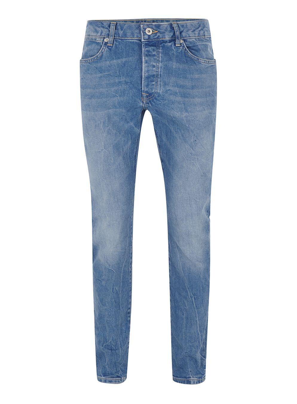 lyst topman bright blue stretch slim jeans in gray for men. Black Bedroom Furniture Sets. Home Design Ideas