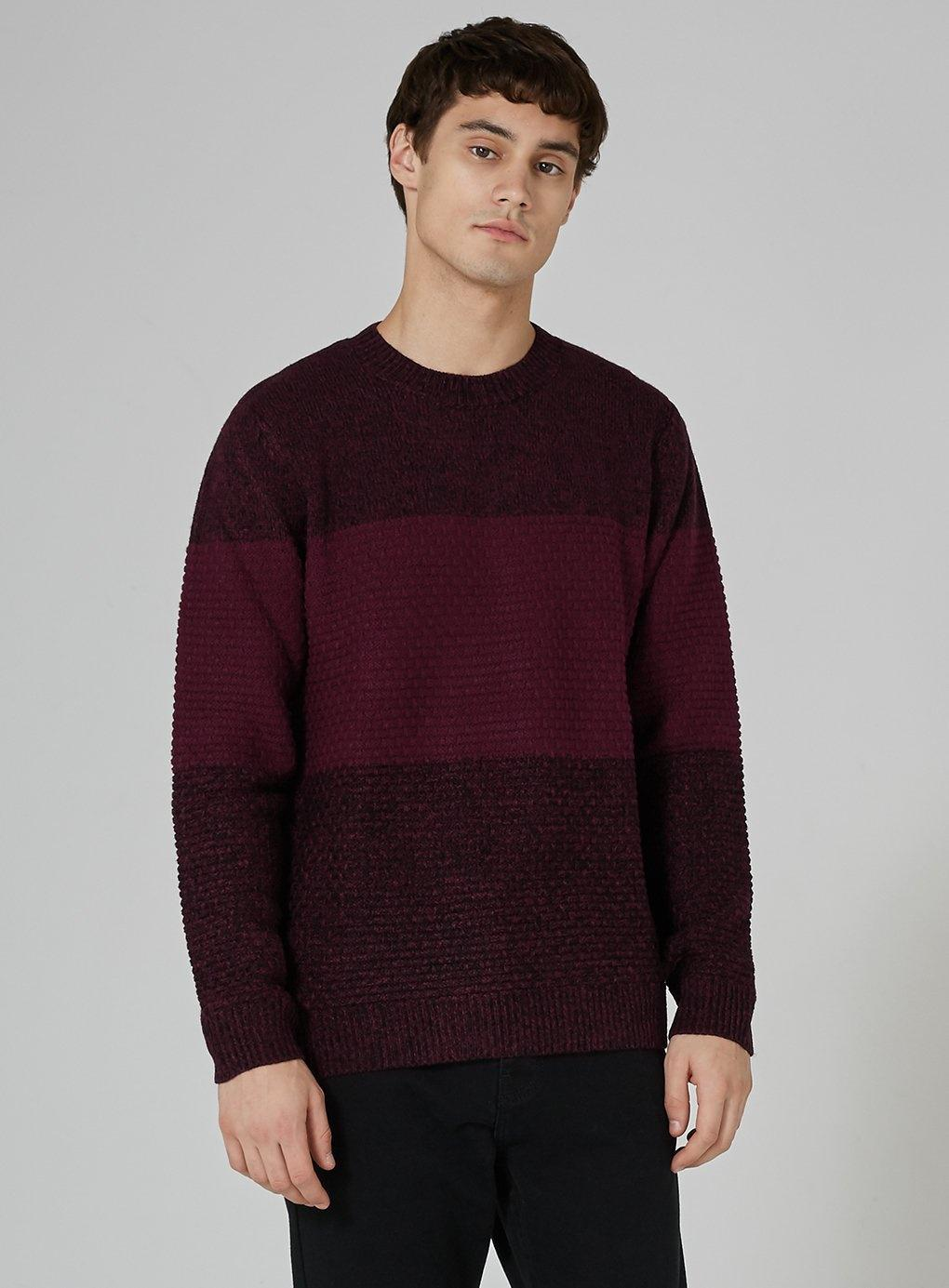 TOPMAN Synthetic Burgundy And Black Panel Jumper in Red for Men