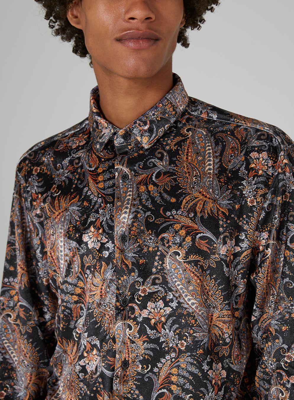 d4185ab8ba0 Lyst - TOPMAN Black Velvet Paisley Shirt in Black for Men