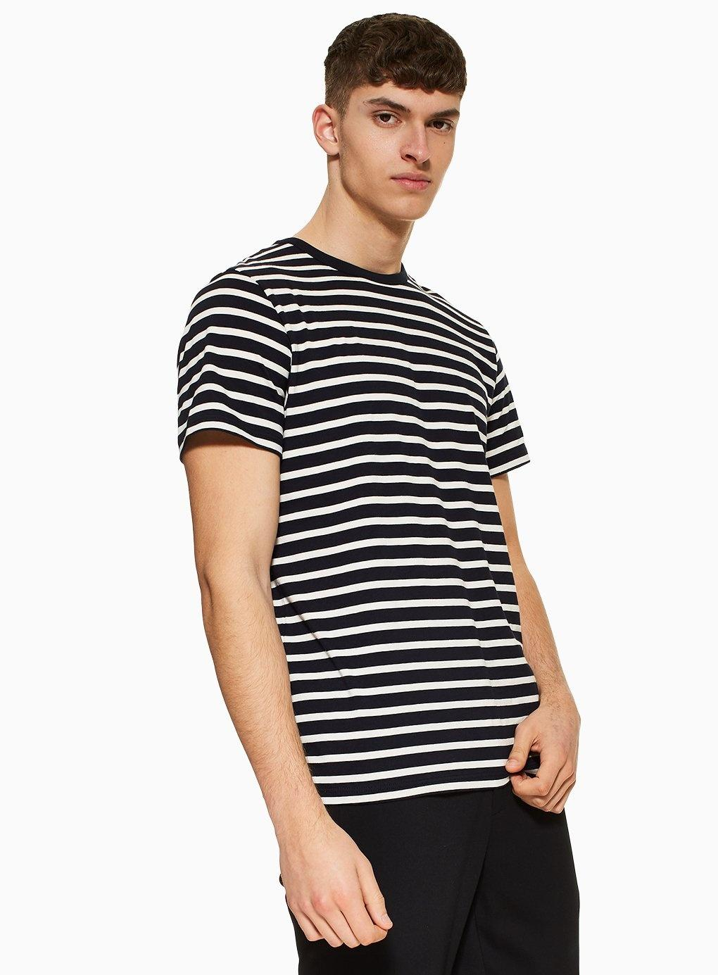 c8000302 TOPMAN And Off White Stripe T-shirt in Blue for Men - Lyst