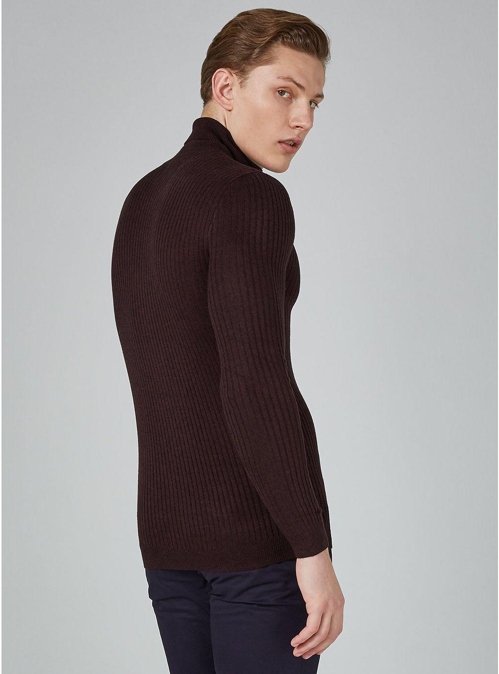 TOPMAN Synthetic Burgundy And Black Twist Muscle Ribbed Roll Neck Sweater in Red for Men