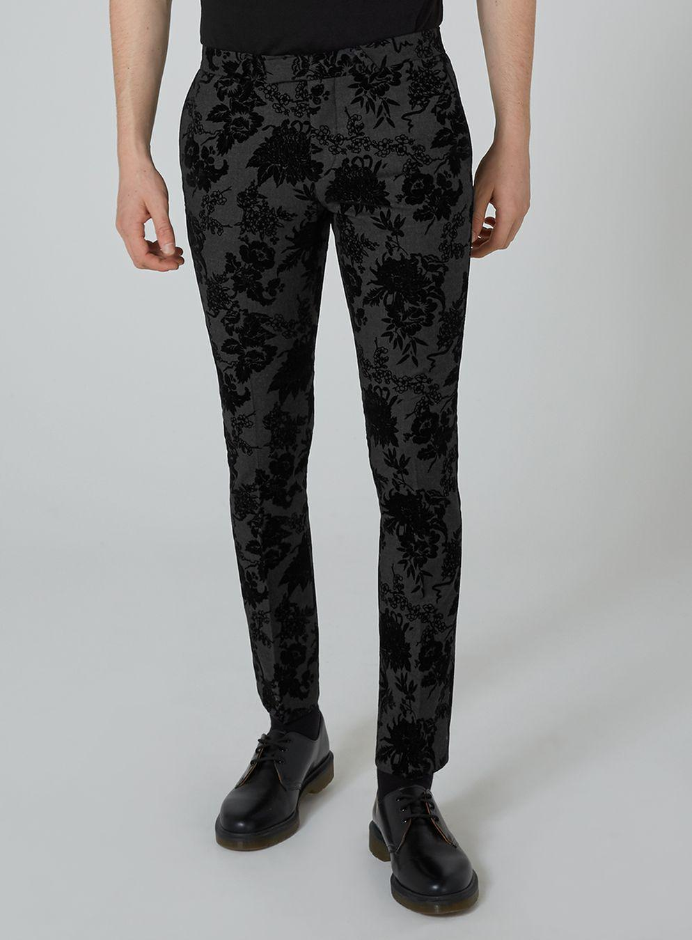 TOPMAN Synthetic Noose & Monkey Gray Flock Pant for Men