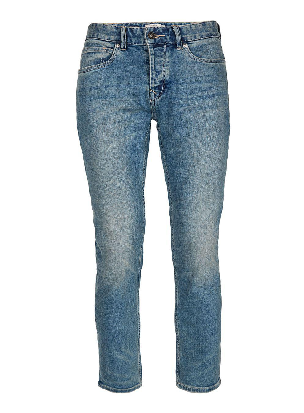 TOPMAN Denim Blue Cropped Stretch Slim Jean for Men