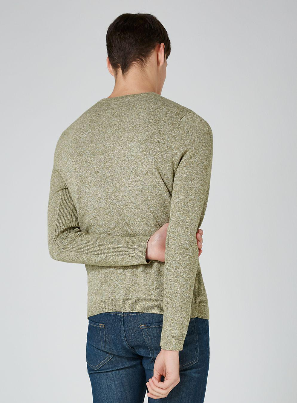 TOPMAN Cotton Khaki And White Twist Jumper in Natural for Men