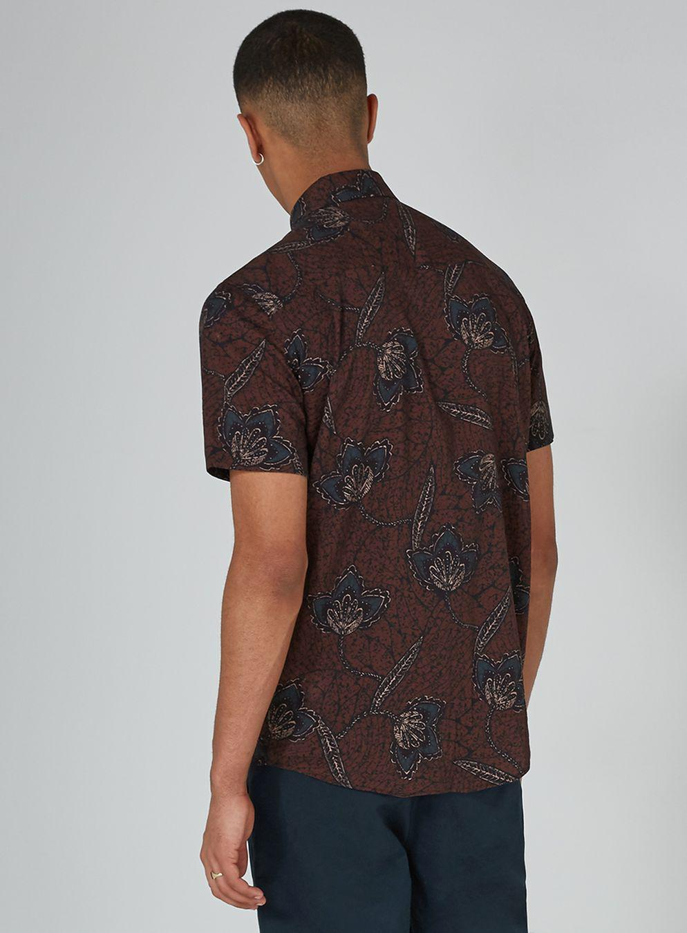 Topman Burgundy Print Short Sleeve Shirt in Black for Men ...