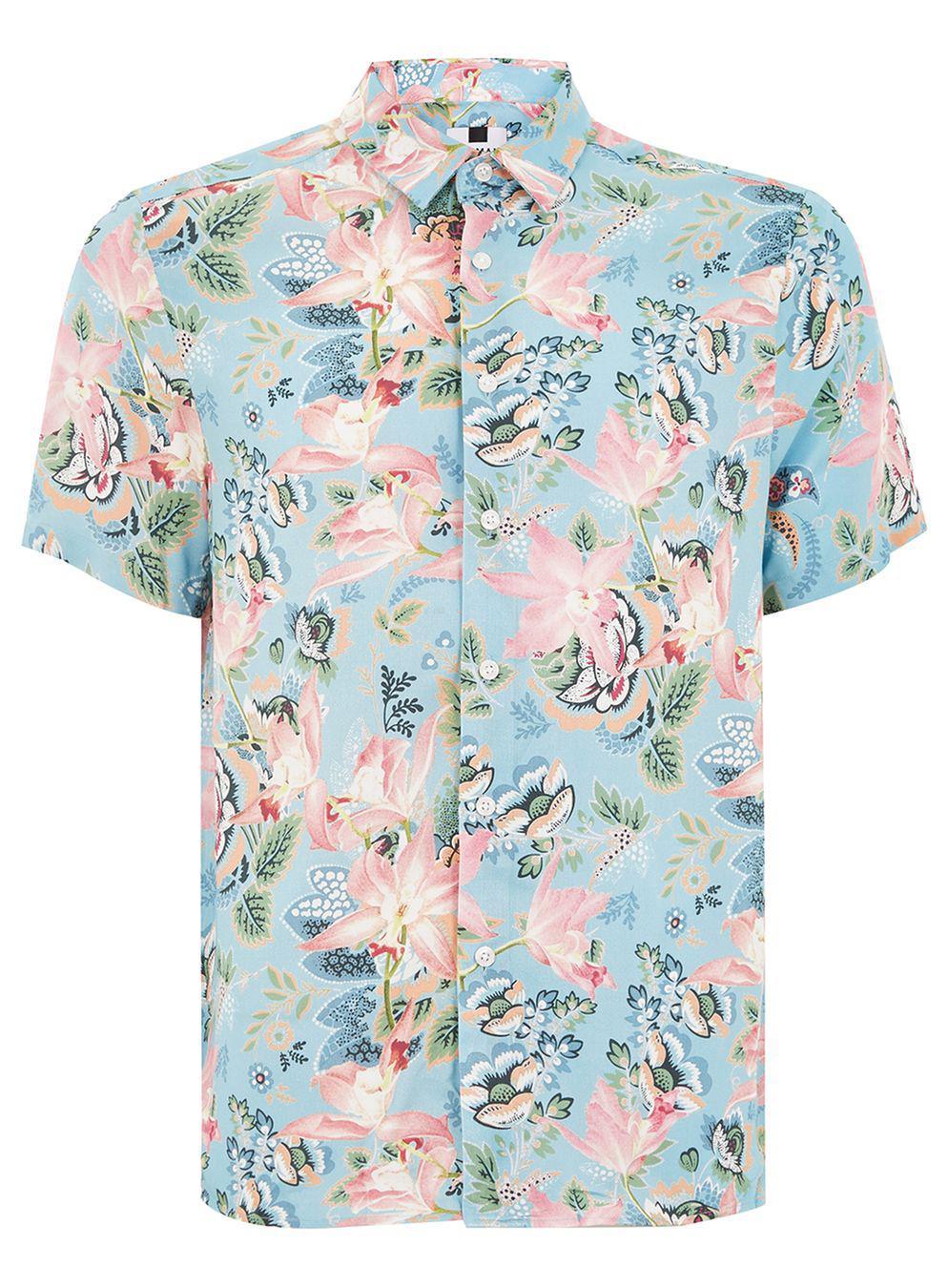 b9b20060f1c37 Lyst - TOPMAN Blue Floral Print Shirt in Blue for Men