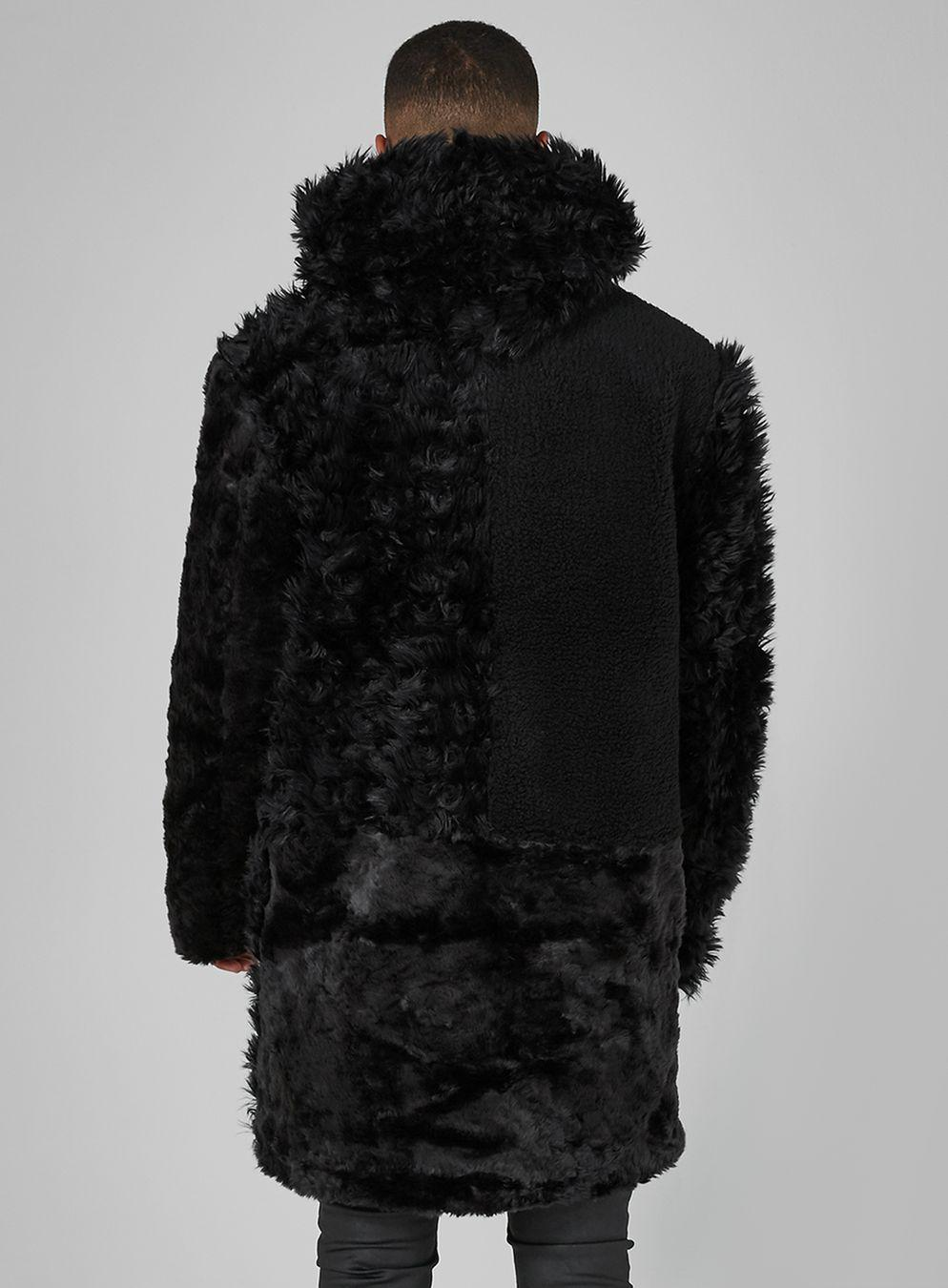 TOPMAN Synthetic Black Faux Fur And Borg Patchwork Jacket for Men