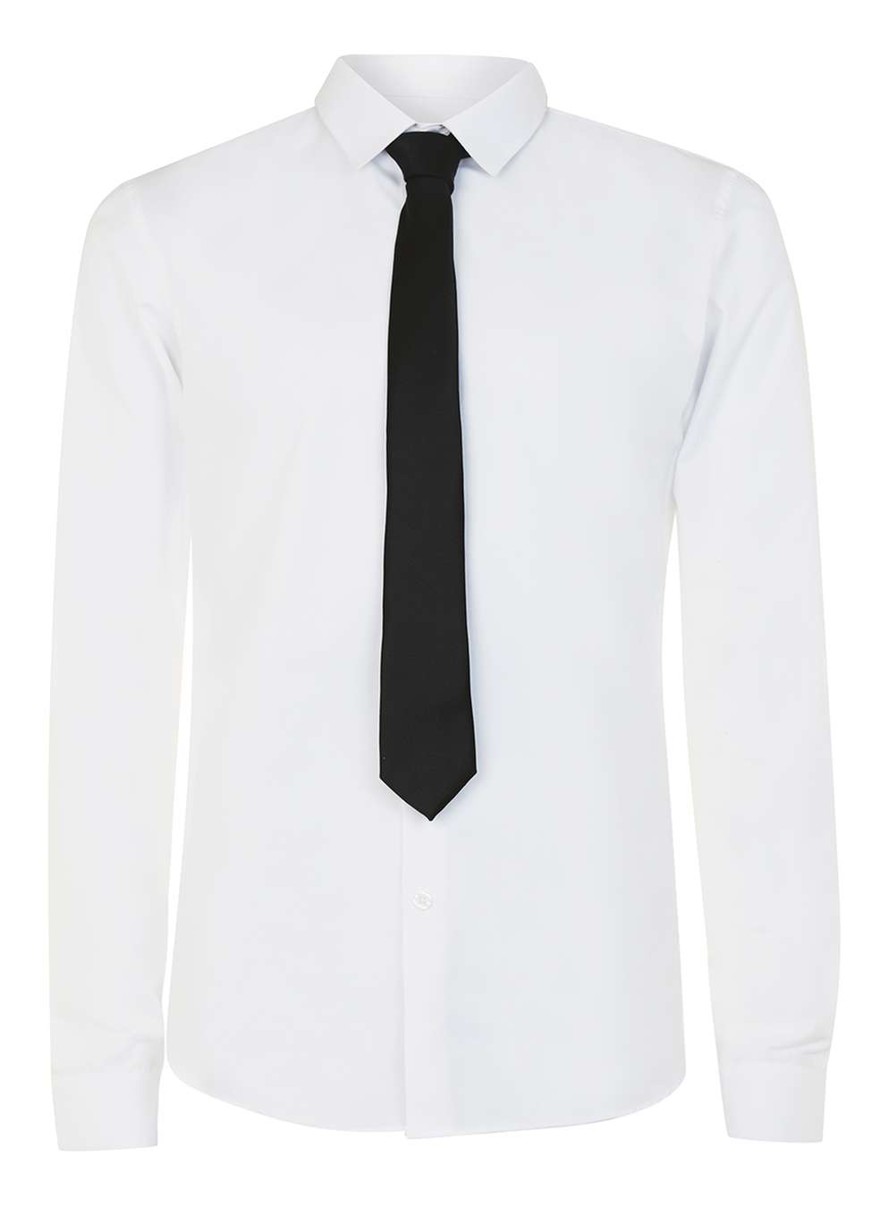 Topman White Dress Shirt And Black Tie Set In Black For